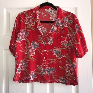 Forever 21 Red Tropical Hawaiian Shirt